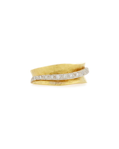 18K Hammered Ring with Diamond Stripe, Size 7