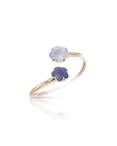 Bon Ton Chalcedony Flower Bracelet with Diamonds in 18K Rose Gold