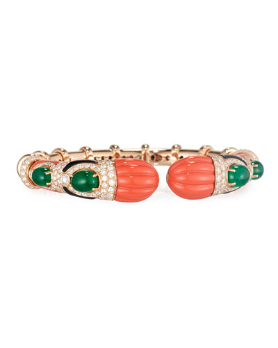 Carved Coral, Onyx & Emerald Bracelet with Diamonds