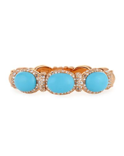 Turquoise Cabochon & Diamond Bangle Bracelet