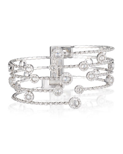 Eight-Prong Diamond Cuff Bracelet in 18K White Gold
