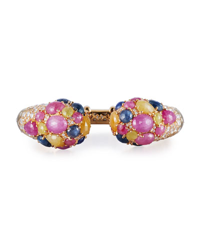 Mixed Sapphire & Diamond Open Cuff Bracelet