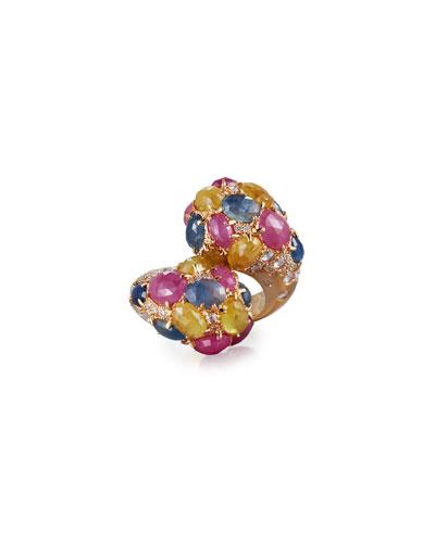 Mixed Sapphire & Diamond Bypass Ring