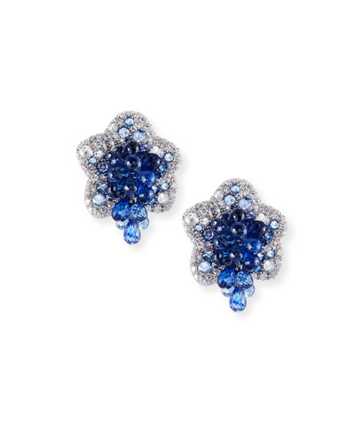 Diamond & Blue Sapphire Flower Earrings