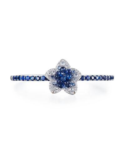 Diamond & Sapphire Flower Bangle Bracelet