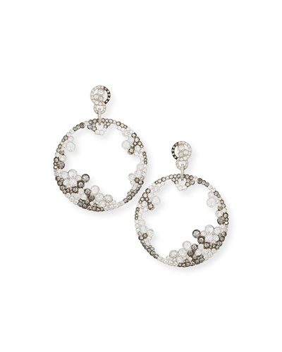 Black & White Diamond Hoop Drop Earrings in 18K White Gold