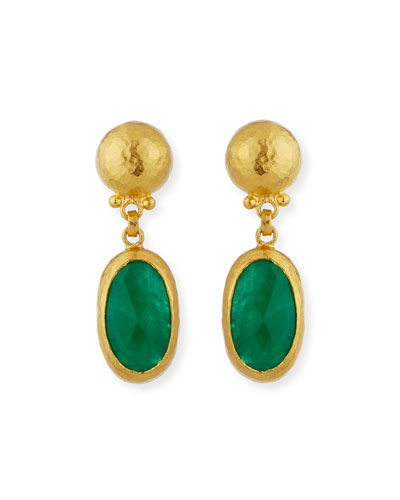 Elements Rose-Cut Emerald Drop Earrings