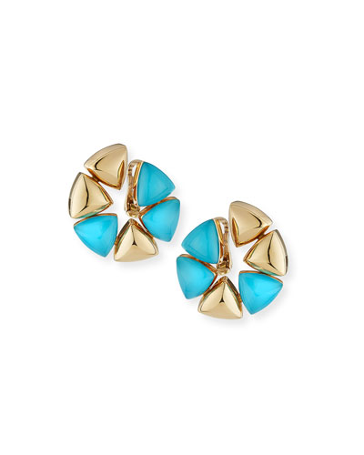 Turquoise Rock Crystal Clip-On Earrings