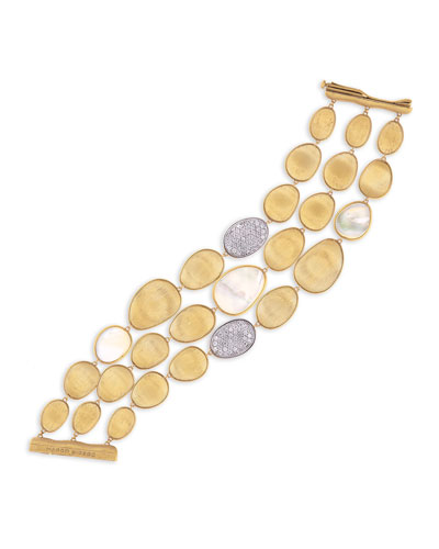 Lunaria Three-Row Mother-of-Pearl Bracelet with Diamonds