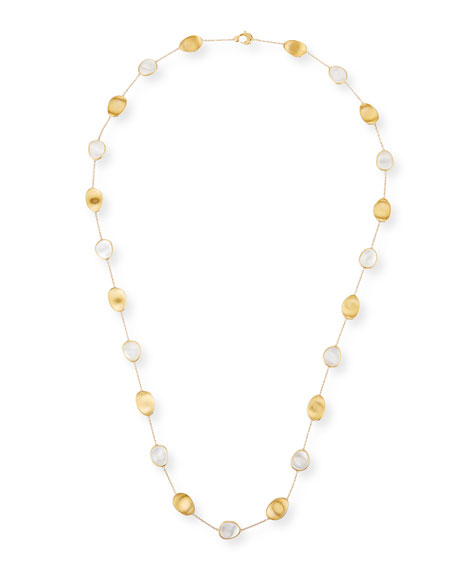 """Marco Bicego Lunaria Long Mother-of-Pearl Station Necklace, 36"""""""