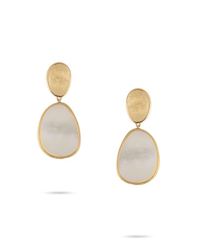 Lunaria Small Mother-of-Pearl Drop Earrings in 18K Gold