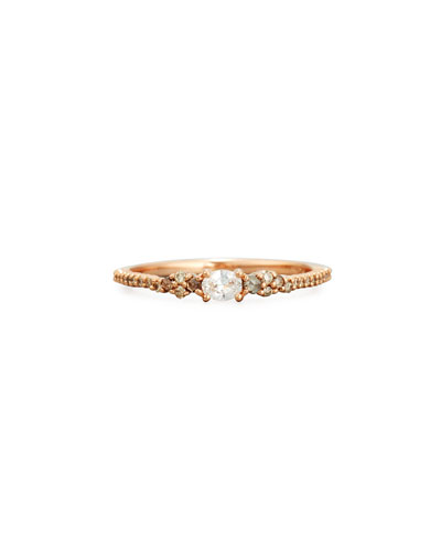 White & Brown Diamond Ring in 18K Rose Gold, Size 6.5