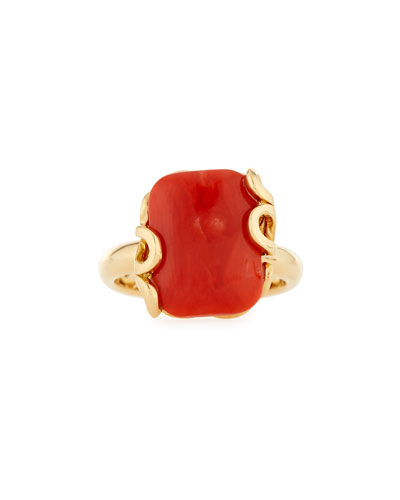 Sea Leaf Coral Ring in 18K Gold