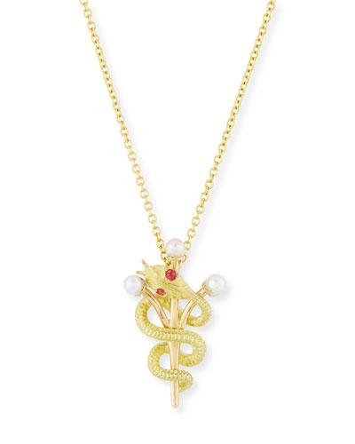 TURNER & TATLER Vintage 14K Intertwined Snake & Scepter Pendant Necklace