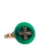 12k Jade & Diamond Button Ring, Size 6.5