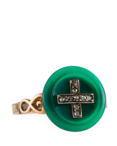 12k Jade & Diamond Button Ring, Size 6.5