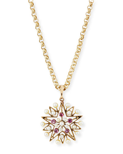 Victorian Ruby & Pearl Star Necklace