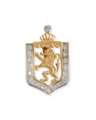 Lion en Rampant Shield Charm with Diamonds