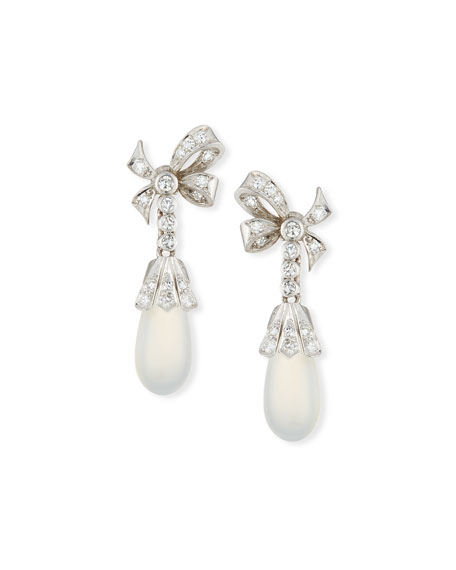 Turner & Tatler 14k Moonstone & Diamond Drop Earrings