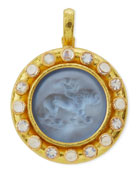 Cupid Riding Lion Venetian Glass Intaglio Pendant, Cerulean