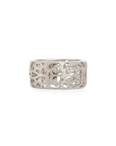 Men's Warrior 18K White Gold Carved Band Ring with Diamonds