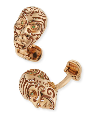 18K Rose Gold & Rain Forest Sapphire Cuff Links
