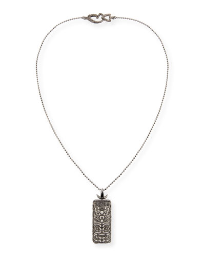 Rectangular Tag Necklace with Black Diamonds
