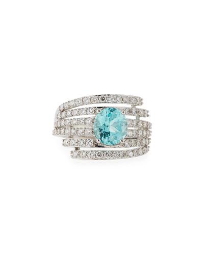 Paraiba Tourmaline & Diamond Ring in 18K White Gold
