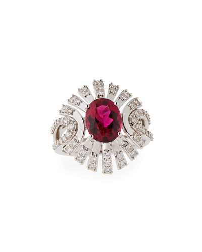 Rubelite & Diamond Ring in 18K White Gold
