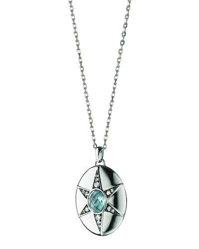 Blue Topaz & White Sapphire Locket Necklace, 32