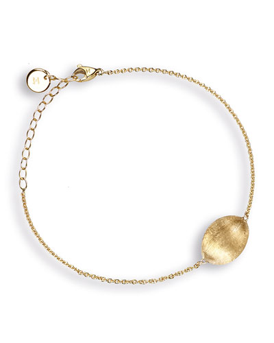 Delicati 18K Gold Flat Oval Bead Bracelet