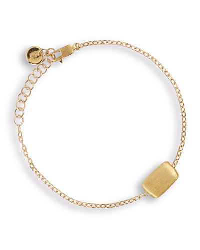 Delicati 18K Gold Flat Rectangle Bead Bracelet