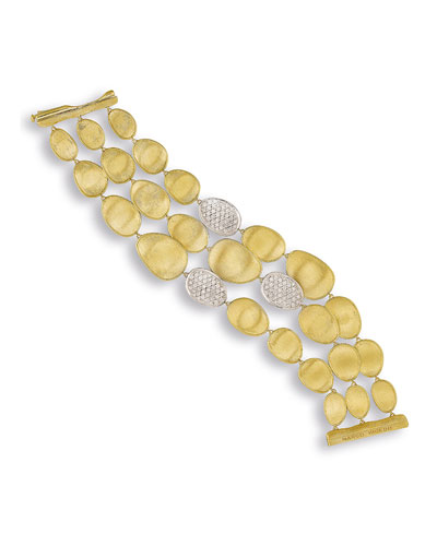 Lunaria Three-Strand Diamond Station Bracelet