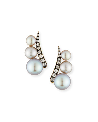 Pearl & Diamond Climber Earrings