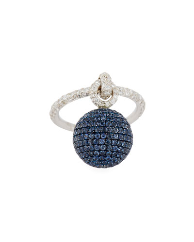 Bellagio Diamond & Blue Sapphire Dangling Ball Ring in 18K White Gold ...
