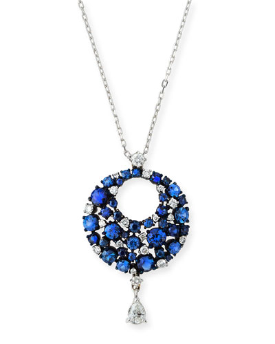 Eclipse Diamond & Blue Sapphire Pendant Necklace in 18K White Gold