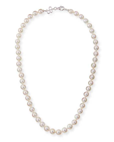 "Belpearl 8.5mm Akoya Pearl Necklace in 18K White Gold, 18""L"