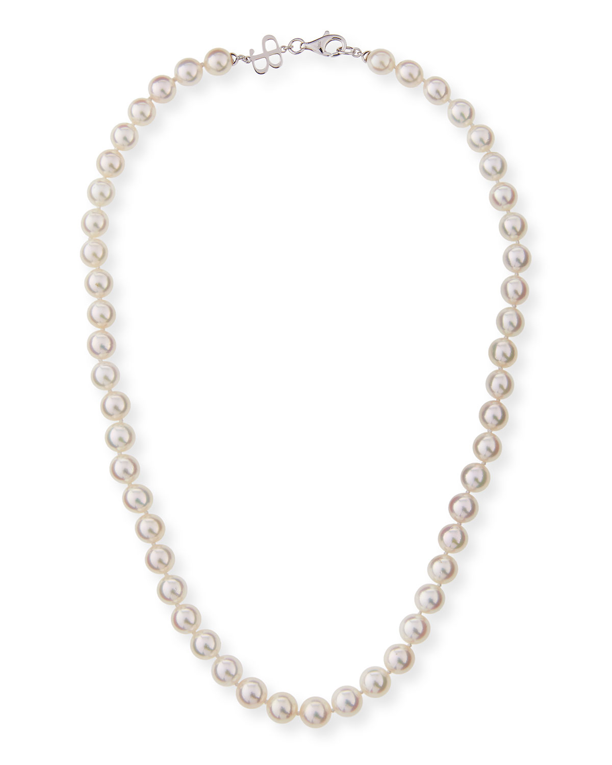 """BELPEARL 8.5Mm Akoya Pearl Necklace In 18K White Gold, 18""""L"""