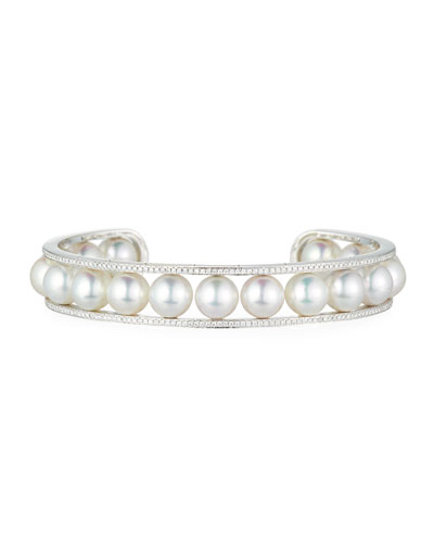 Illusion-Set Akoya Pearl & Diamond Bangle in 18K White Gold