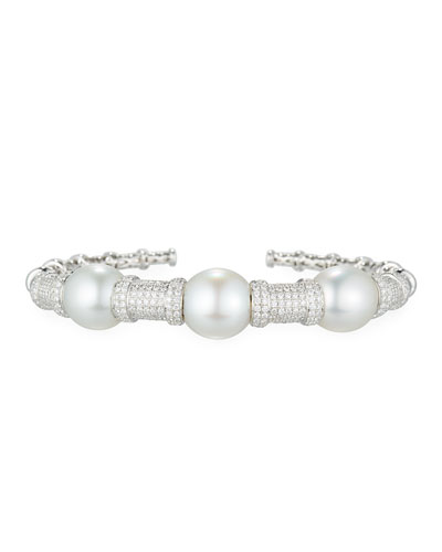 South Sea Pearl Bracelet with Diamonds in 18K White Gold