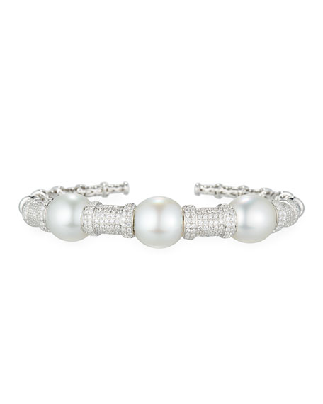 Belpearl South Sea Pearl Bracelet with Diamonds in 18K White Gold