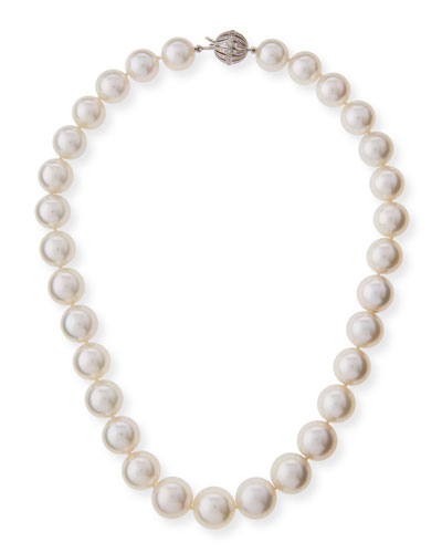 South Sea Pearl Necklace with Diamond Ball Clasp, 18