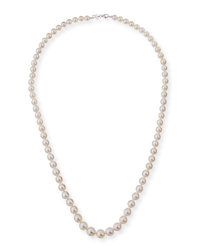 13mm South Sea Pearl Necklace in 18K White Gold, 36