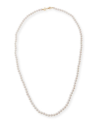7.5mm Akoya Pearl Necklace in 18K Yellow Gold, 36