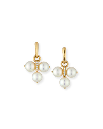 Detachable Akoya Pearl Trio Drop Earrings with Diamonds