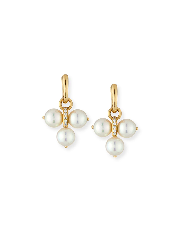 Detachable Akoya Pearl Trio Drop Earrings with Diamonds