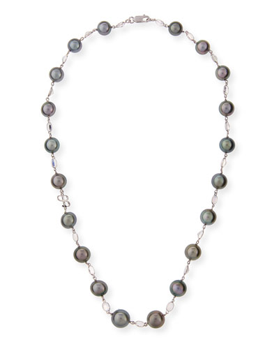Black Tahitian Pearl & Moonstone Station Necklace in 18K White Gold