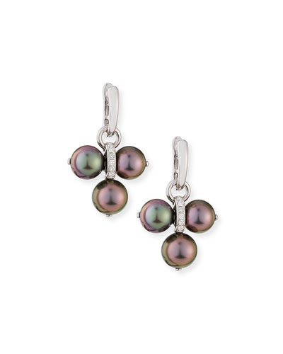 Detachable Tahitian Pearl Trio Drop Earrings with Diamonds