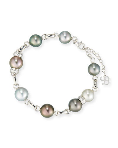 Multicolor Tahitian Pearl Station Bracelet with Diamonds