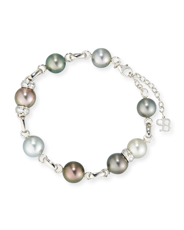 Multicolor Tahitian Pearl Station Bracelet with Diamonds